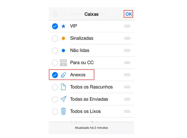 """Selecionando a opção """"Anexos"""" do Mail no iOS 7 (Foto: Reprodução/Marvin Costa)"""
