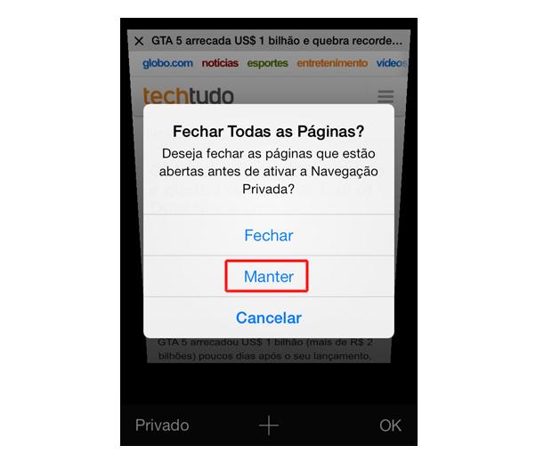 Mantendo a página atual aberta na opção de navegação privada do Safari do iOS 7 (Foto: Reprodução/Marvin Costa)