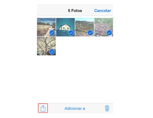 Selecionando cinco fotos para enviar por e-mail no iOS 7 (Foto: Reprodução/Marvin Costa)