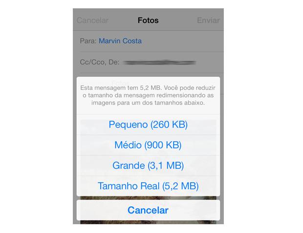 Definindo o redimensionamento de fotos ao enviar um e-mail no iOS 7 (Foto: Reprodução/Marvin Costa)