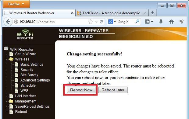 Se for pedido, reinicie o repetidor (Foto: Reprodução/Edivaldo Brito)