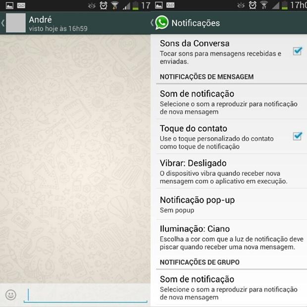 Tela de bate-papo do WhatsApp à esquerda e ajustes de notificações do mensageiro à direita (Foto: Reprodução/Carolina Ribeiro)