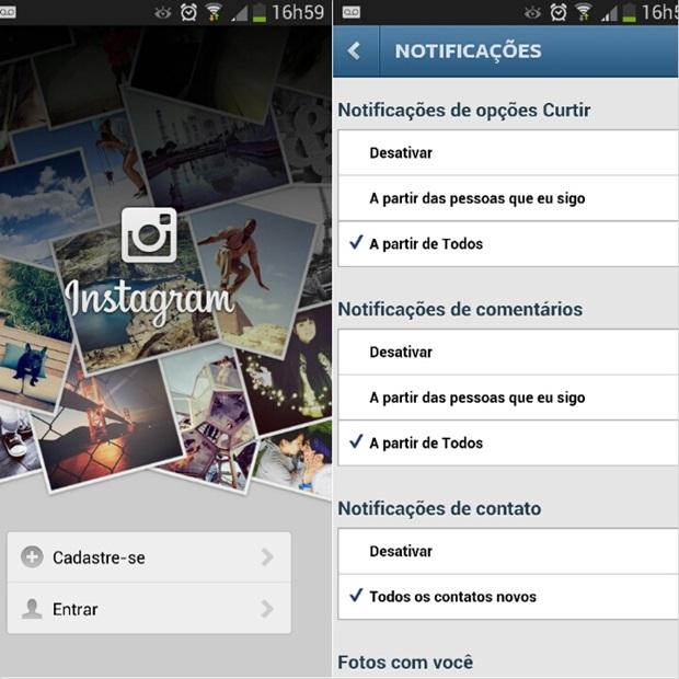 Tela para entrar no Instagram à esquerda e opção de gerenciar as notificações da rede social à direita (Foto: Reprodução/Carolina Ribeiro)
