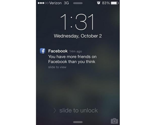 'Você tem mais amigos do que imagina no Facebook', diz notificação no celular (Foto: Reprodução/Digital Trends)