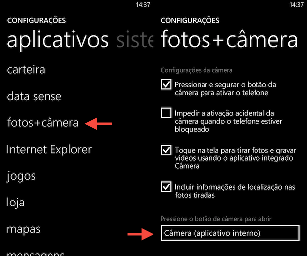 Alterando configurações da câmera (Foto: Reprodução/Helito Bijora)