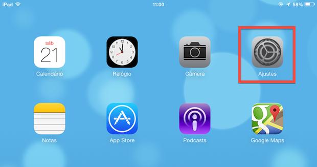Acessando as opções do iOS 7 (Foto: Reprodução/Helito Bijora)