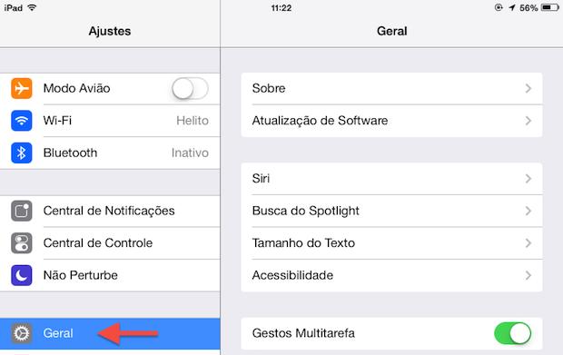 Opções do iOS 7 em um iPad (Foto: Reprodução/Helito Bijora)
