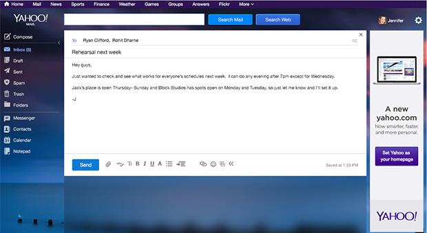 Novo design do e-mail do Yahoo tem muitas semelhanças com o Gmail (Foto: Divulgação)