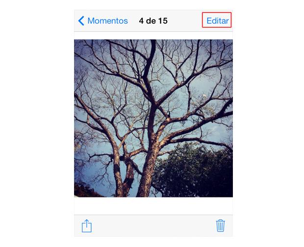 Iniciando uma edição de foto no iOS 7 (Foto: Reprodução/Marvin Costa)