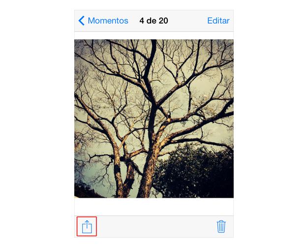Acessando as opções de compartilhamento do iOS 7 (Foto: Reprodução/Marvin Costa)