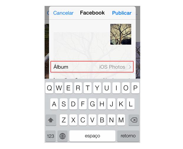 Definindo um álbum do Facebook para compartilhar uma foto do iOS 7 (Foto: Reprodução/Marvin Costa)