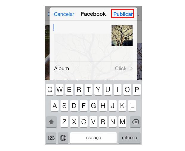 Publicando a foto do iOS 7 no Facebook (Foto: Reprodução/Marvin Costa)