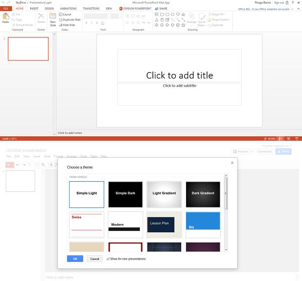 Google Drive, abaixo, tem lista de temas (Foto: Reprodução/Thiago Barros)
