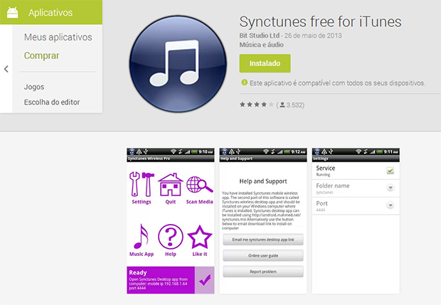 Synctunes free é uma boa opção de aplicativo gratuito para sincronizar seu Android com o iTunes (Foto: Reprodução/Paulo Alves)