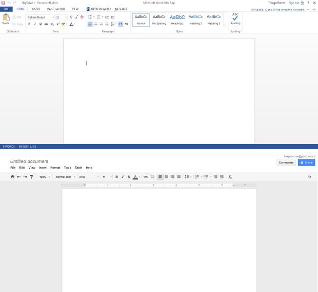 Editores de texto são semelhantes no SkyDrive e no Google Drive (Foto: Reprodução/Thiago Barros)
