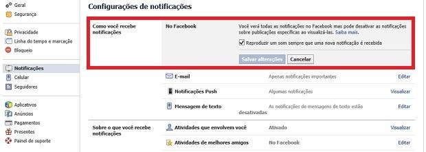 Desativando os sons do Facebook (Foto: Reprodução/Thiago Barros)