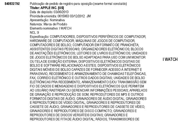 Apple pediu registro da marca no Brasil (Foto: Reprodução/INPI)