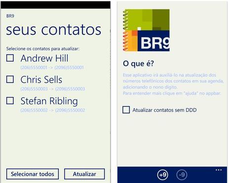 No BR9, usuário pode escolher contatos a serem atualizados no WP8 (Foto: Reprodução/TechTudo)