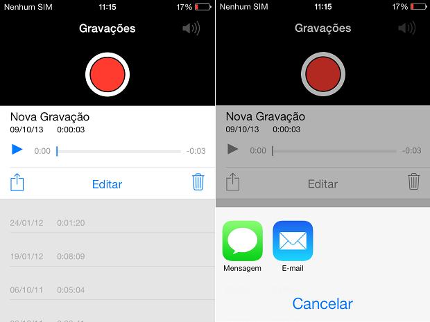 Há duas opções de envio (Foto: Reprodução/Thiago Barros)