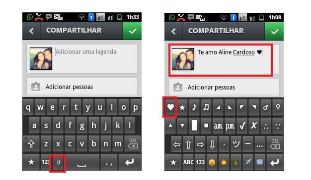 Como usar caractere especial em legenda foto e comentrio no android escolha o caractere especial ou emoticon que deseja usar foto reproduobruno ribeiro ccuart Images
