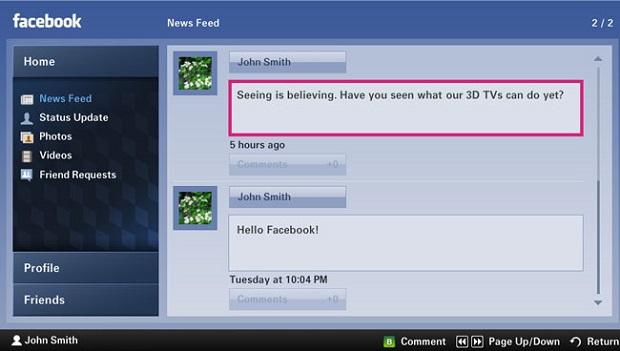 Até o Facebook já está nas TVs (Foto: Divulgação)