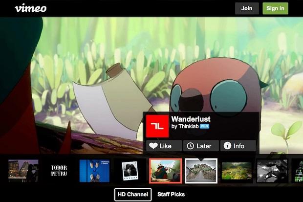 Vimeo tem design agradável e muito contúdo na TV (Foto: Reprodução/Engadget)