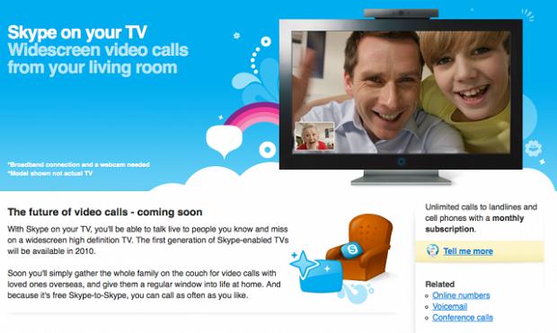 Skype permite fazer chamadas em vídeo pela TV (Foto: Divulgação)