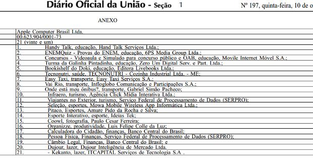 Lista de apps brasileiros que a Apple incluirá nos iPhones divulgado no DOU. (Foto: Reprodução/ Techtudo) (Foto: Lista de apps brasileiros que a Apple incluirá nos iPhones divulgado no DOU. (Foto: Reprodução/ Techtudo))
