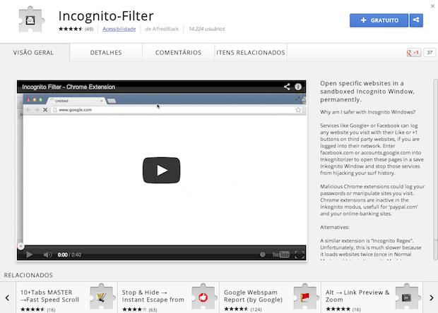 Instando extensão no Chrome (Foto: Reprodução/Helito Bijora)