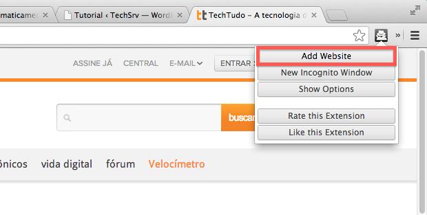 Adicionando um site ao filtro (Foto: Reprodução/Helito Bijora)