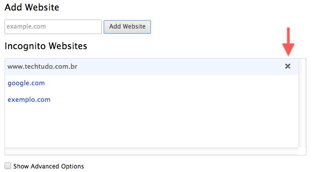 Removendo site da lista (Foto: Reprodução/Helito Bijora)