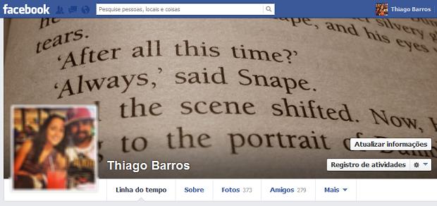 Acesse seu perfil no Facebook (Foto: Reprodução/Thiago Barros)