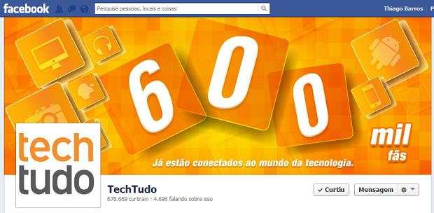 Este é o perfil do TechTudo no Facebook (Foto: Reprodução)