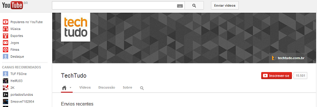 YouTube mantém padrão do Google (Foto: Reprodução)