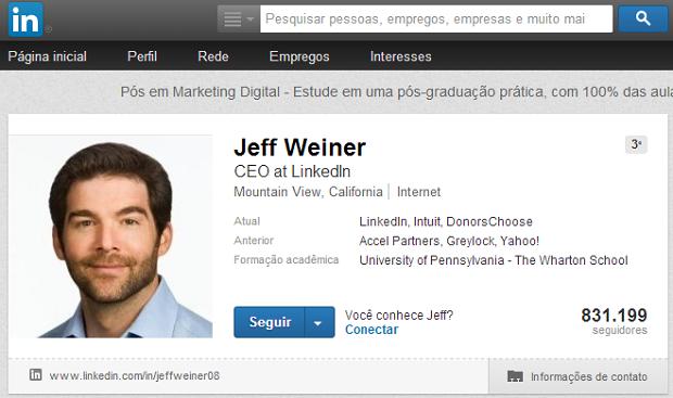Perfil do CEO do LinkedIn é um bom exemplo (Foto: Reprodução)