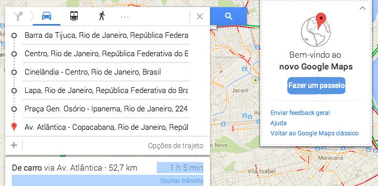 Novo Google Maps permite cadastrar múltiplas rotas em um só caminho (Foto: Reprodução/Google)