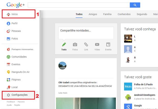 Acesse as configurações do seu Google + (Foto: Reprodução/Thiago Bittencourt)