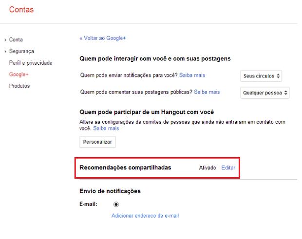 """Ao lado de """"recomendações compartilhadas"""", clique em """"Editar"""" (Foto: Reprodução/Thiago Bittencourt)"""