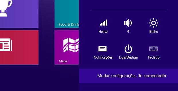 Acessando configurações do Windows 8 (Foto: Reprodução/Helito Bijora) (Foto: Acessando configurações do Windows 8 (Foto: Reprodução/Helito Bijora))