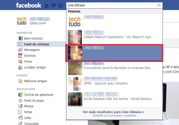 Procurando amigos no Facebook (Foto: Reprodução/Lívia Dâmaso)
