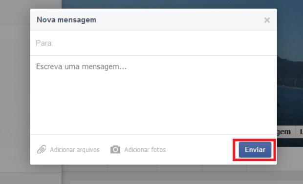 Enviando mensagem para um amigo no Facebook (Foto: Reprodução/Lívia Dâmaso)