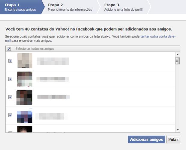 Lista de contatos do e-mail que possuem conta no Facebook (Foto: Reprodução/Lívia Dâmaso)
