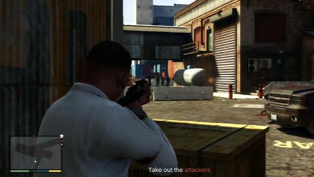Atire no tanque de combustível para se livrar de três agentes do FIB de uma vez (Foto: IGN / Reprodução)