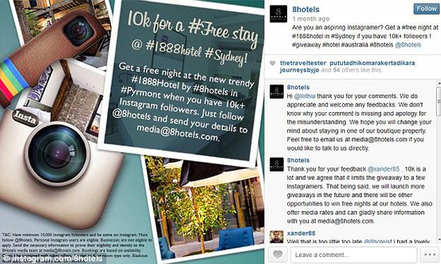 Hotel dá uma diária para usuários do Instagram com mais de 10 mil seguidores. (Foto: Reprodução / Ubergizmo)