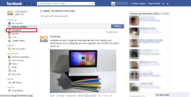 Acessando a caixa de mensagens do Facebook (Foto: Reprodução/Lívia Dâmaso)