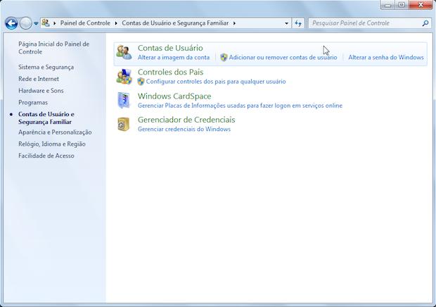 Configurações de conta de usuário (Foto: Reprodução/Helito Bijora)