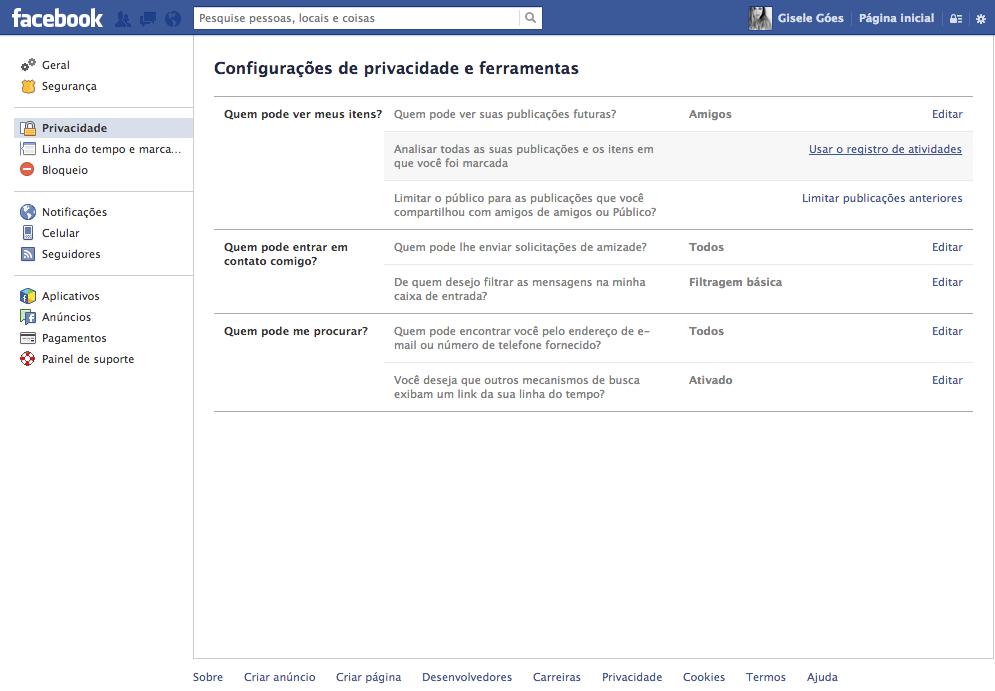Facebook começará a notificar usuários com instruções e lembrete sobre configurações de privacidade de publicações. (Foto: TechTudo / Gisele Góes)