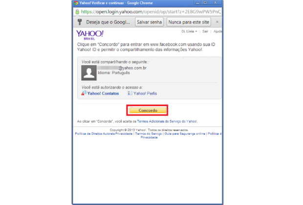 Permissão de acesso dos seus dados (Foto: Reprodução/Lívia Dâmaso)
