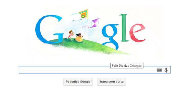 Dia das Crianças é destacado no Doodle do dia (Foto: Reprodução)