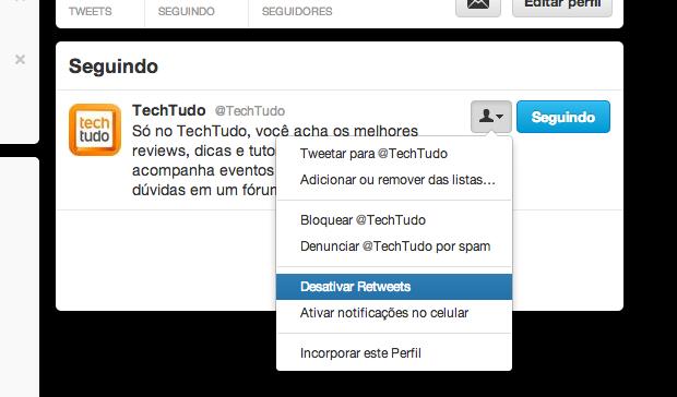 Desativando retweets de um usuário (Foto: Reprodução/Helito Bijora)
